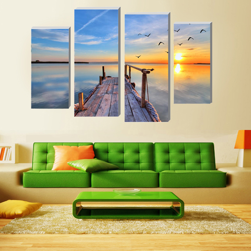 2016 New Sale Modular Paintings On The Wall 4 Pcs Lakeside Marina Art Sunset Picture Modern Home Decoration Canvas Oil Painting