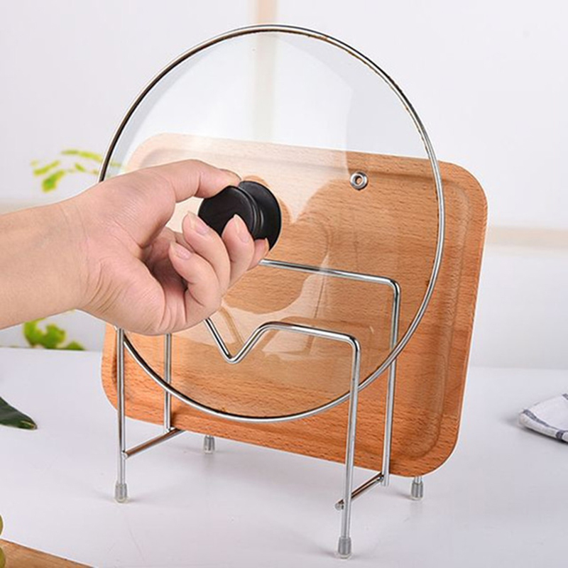 Stainless Steel Pan Pot Cover Lid Rack Stand Dish Rack Cutting Board Holder Kitchen Organizer Storage Rack Accessories