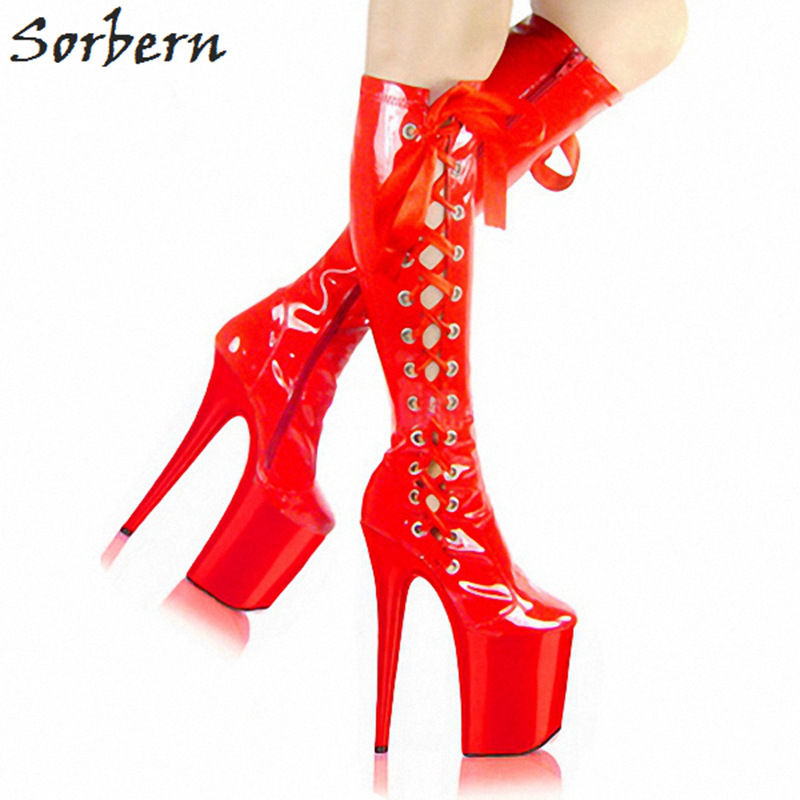 Sorbern Red Patent Leather Ribbon 8 Ultra High Heels Mid Calf Boots Black High Heel Woman Boot Clear Heeled Dance Platform Heel double buckle cross straps mid calf boots