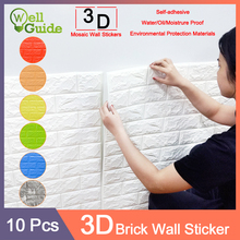 10pcs 3D Wall Stickers Marble Brick Waterproof DIY Self-Adhesive Decor Background For Kids Room Living Wallpaper Sticker