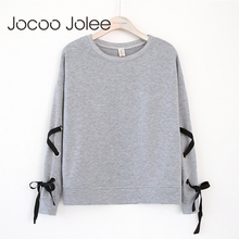 Jocoo Jolee Fashion Lace-up Sleeves Pullover Hoodies Casual O-Neck Solid Color for Women 2018 New Winter