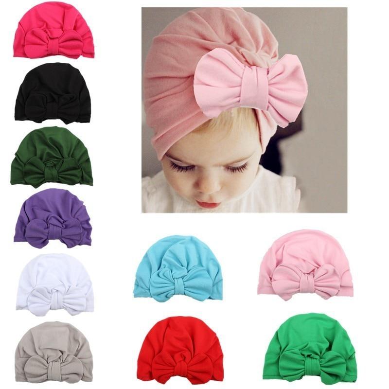 Gorro para crianças com laço, chapéu para meninas recém-nascidas, acessórios de roupa infantil, turbante liso, 1 peça