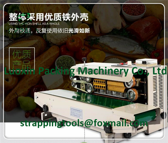 LX-PACK Lowest Factory Price Highest quality Horizontal Continuous Heat Band Sealer, liquid plastic bag sealer machine