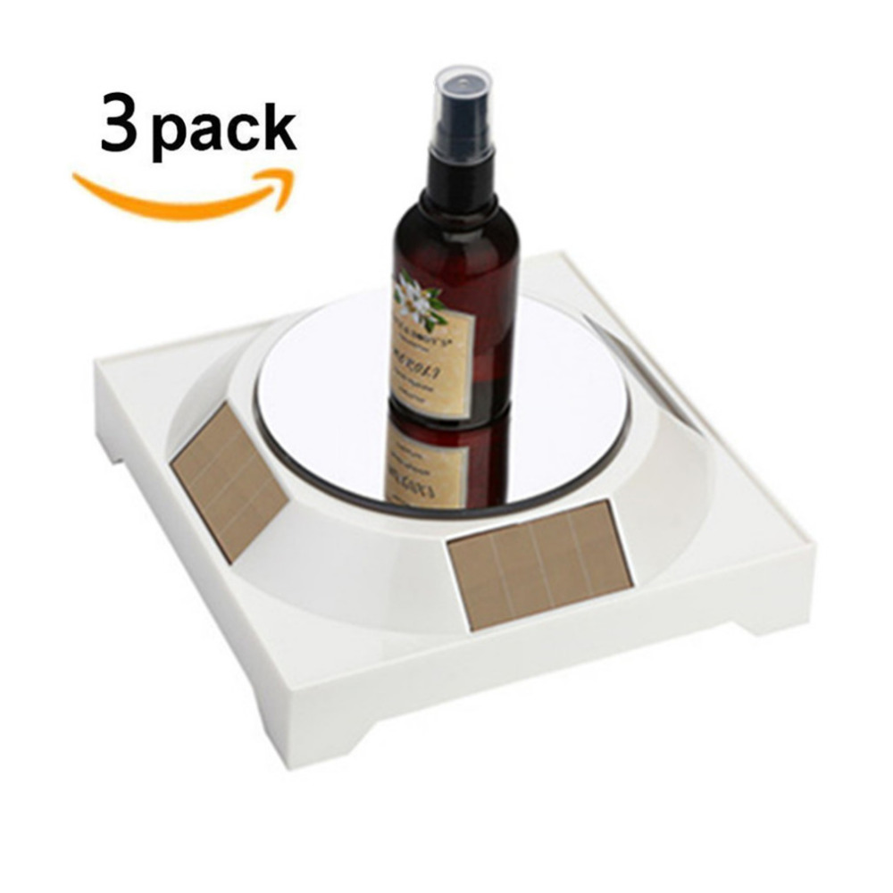 3pcs Mirror top Solar powered display stand Turntable frame shows the turntable jewelry jade phone watch glasses accessories