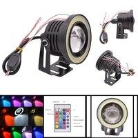 2x Universal RGB COB LED Fog Light Lamps Car Daytime Running Light DRL White Angel Eyes