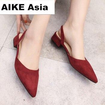 2018 Women Pumps Ankle Strap Thick Heel Women Shoes Square Toe Mid Heels Dress Work Pumps Comfortable Ladies Shoes 2.5 cm