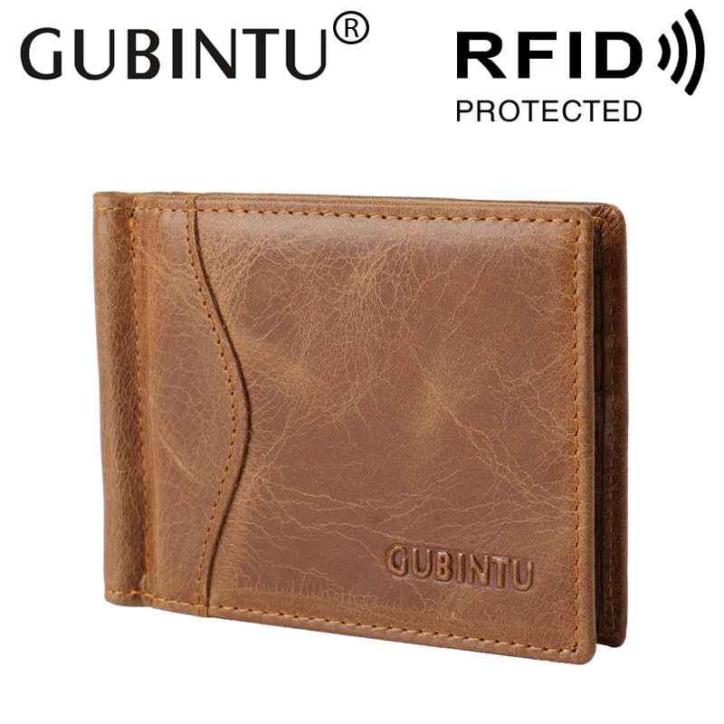 0a29df30f26f US $13.9 50% OFF|RFID Blocking Bifold Slim Genuine Leather Thin Minimalist  Front Pocket Wallets for Men Money Clip Made From Full Grain Leather-in ...
