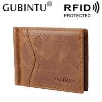 RFID Blocking Bifold Slim Genuine Leather Thin Minimalist Front Pocket Wallets For Men Money Clip Made