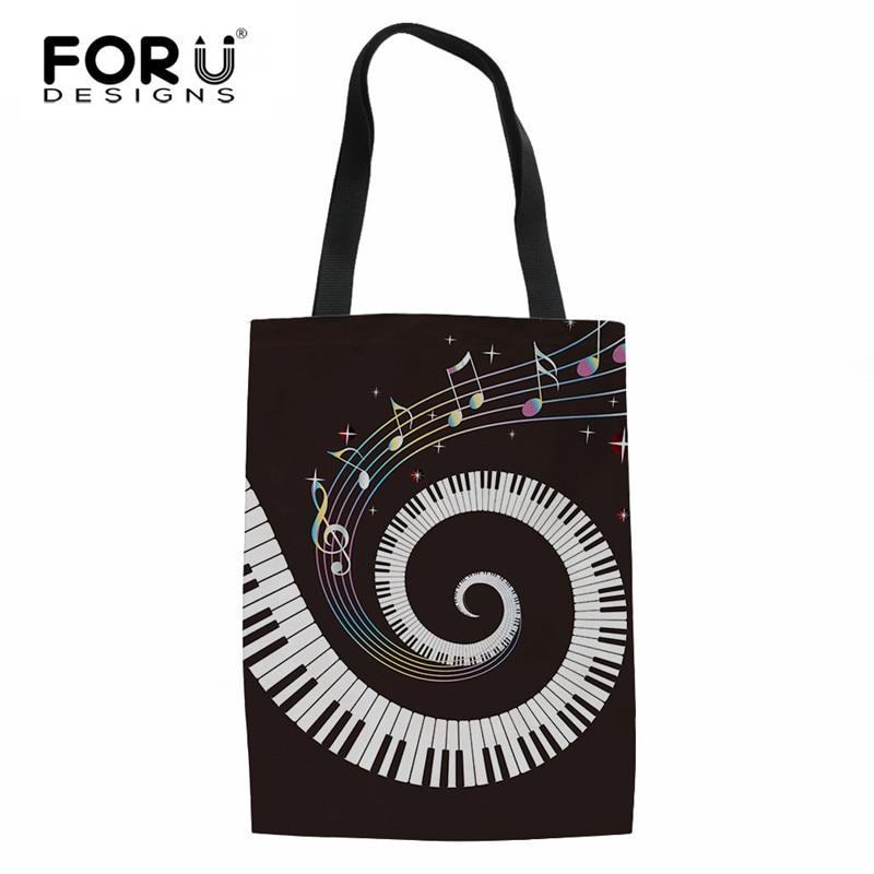 3D Piano Keyboard Printing Linen Shopping Bag Summer Beach Grocery Bag Durable Tote Cloth Pouch Mujer Handbag