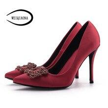 WEIQIAONA Women Pumps High Heels Shoes Elegant Buckle Rhines