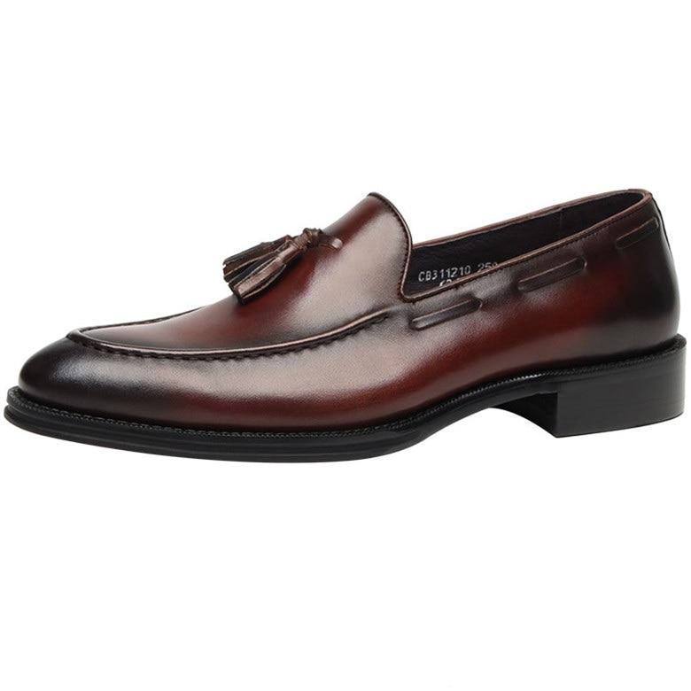 Ручной работы обувь черный /коричневый загар мужские летние свадебные туфли из натуральной кожи острым носом платье обувь Мужская обувь бизнес с кисточкой