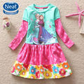 Free shipping in the fall of 2014 baby&kids princess dream frozen printing flower tutu long sleeve cotton tutu dress LDO518