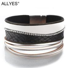 Модные кожаные браслеты allyes для женщин магнитные Многослойные