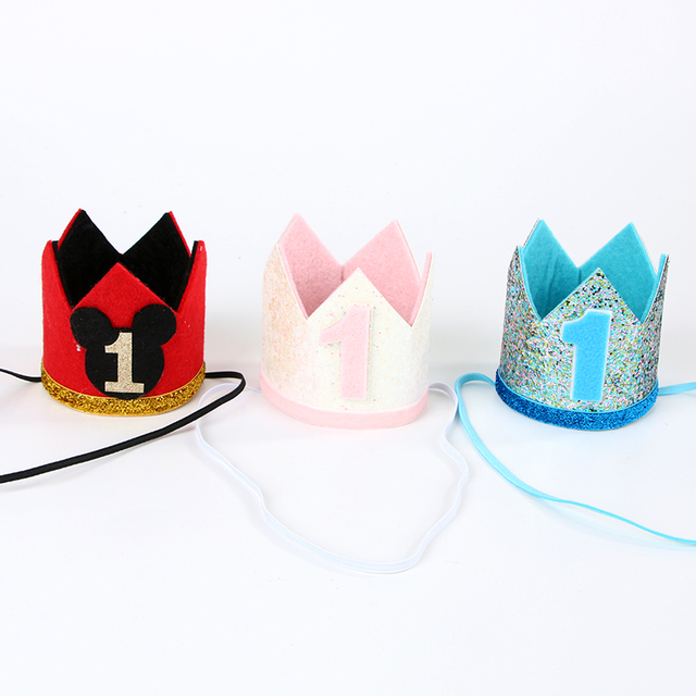 Mickey Mouse Crown First One Minnie Birthday Party Decorations Hat Cake Smash Headband