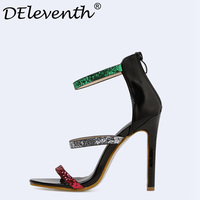 DEleventh 2018 Summer Bride Party Female Sexy Stiletto High Heels Women Pumps Ladies Shoes Woman Ankle Strap Sandals Multicolor