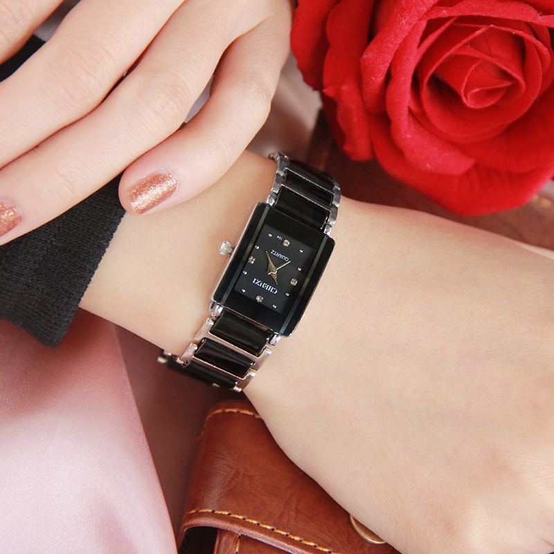 Casual Women Watch Classic Black Ceramics Armband Rhinestone Lady - Damklockor