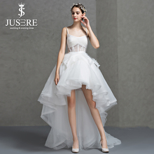 Hi lo Spaghetti Straps Sweetheart Open Low Back Sexy Bodice Tiered Skirt Ruffles Tulle Short Front Long Back Wedding Dress 2017