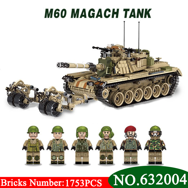 632004 1753pcs Military World War Israel M60 Magach Main Battle Tank 2in1 Ww2 Army Forces Building Blocks Toys For Children gift 632004 1753pcs military world war israel m60 magach main battle tank 2in1 ww2 army forces building blocks toys for children gift