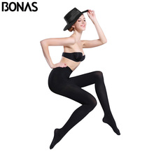 BONAS 80D Women Spring Tights High Elastic Autumn Pantyhose Slim Seamless Female Color Collant Femme Anti Hook