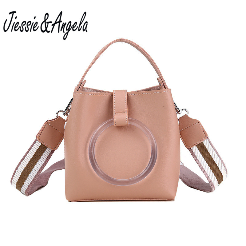 Jiessie&Angela New Fashion Summer Mini Bag Female 2018 Bucket Bag Portable Shoulder Messenger bag Leather Handbag