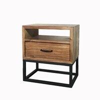 Лофт промышленный стиль американский Ретро прикроватный столик из кованого железа деревянная прикроватная тумбочка простой мини телефон