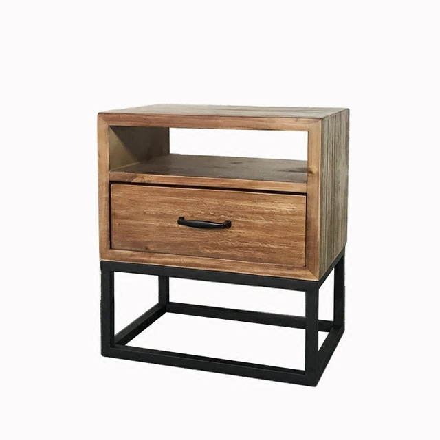 Loft Industrial Style American Retro Bedside Table Wrought Iron Wood
