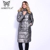 AORRYVLA 2018 новая зимняя куртка женская с капюшоном теплые парки длинные био пух искусственная кожа пальто высокого качества Женская повседнев