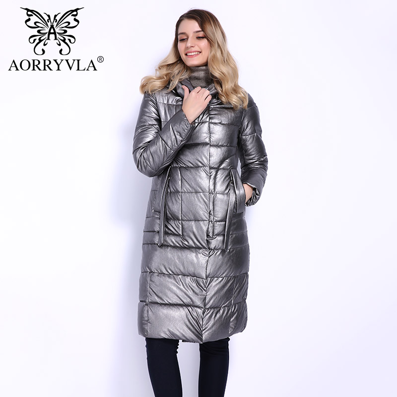 AORRYVLA 2018 New Winter Jacket Women Hooded Warm   Parkas   Long Bio Fluff Faux Leather Coat High Quality Female Casual Clothing