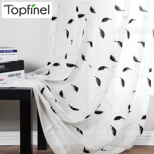 topfinel leaves pattern embroidered white sheer curtains window tulle curtains for living room bedroom kitchen curtain