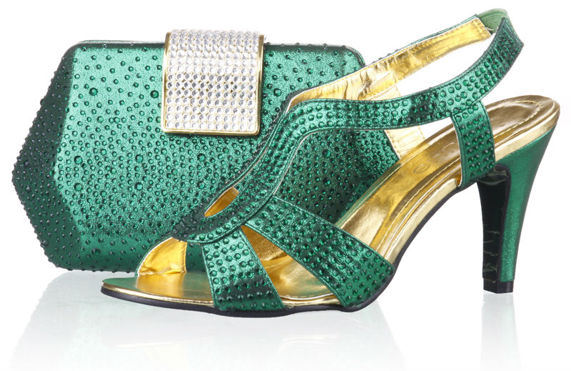 2014 Italian Shoes And Bags To Matchnigeria Green Women Wedding Party Pumps Shoes With Stone