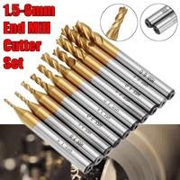 10pcs 1.5 6.0mm HSS 4 Flute End Mill Cutter Titanium Coating 6mm Shank CNC Drill Bits Set Spiral Bit