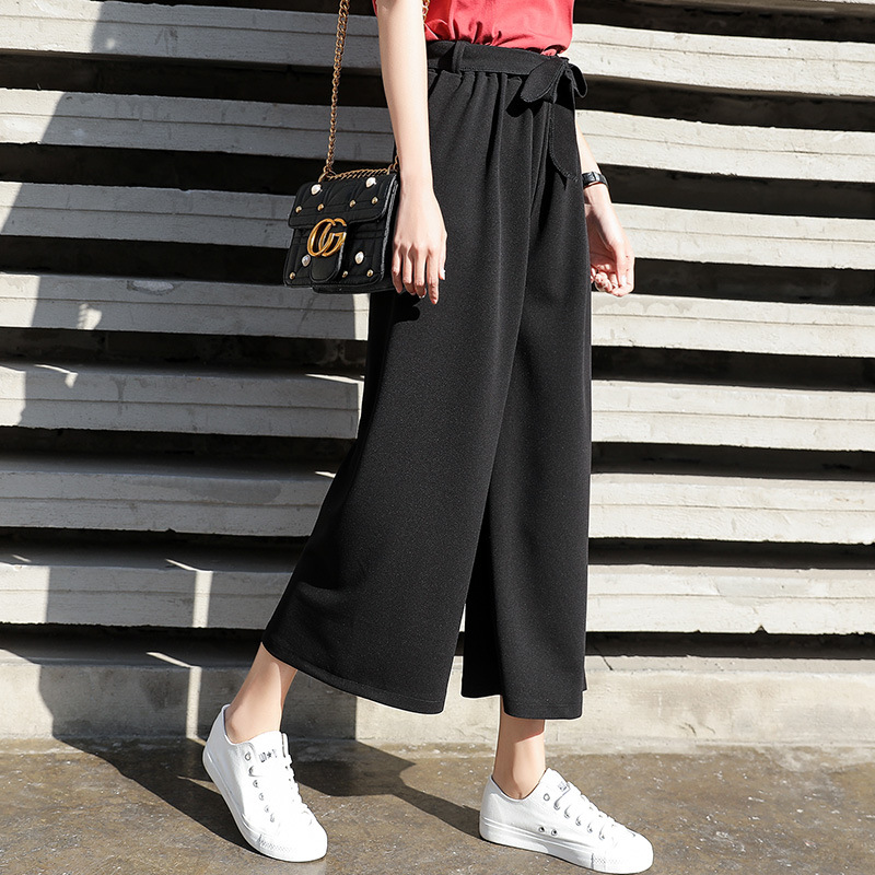 Women Tie   Wide     Leg     pants   Solid Color Pantalones Female High Waist Thin Chiffon Plus Size Casual Ladies Culottes Trousers