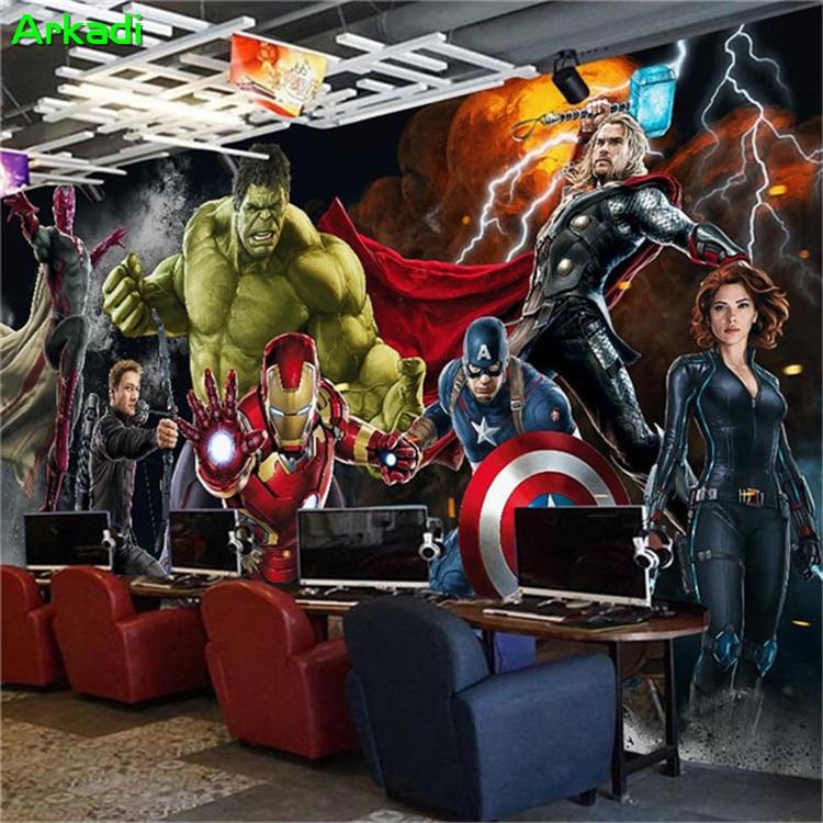 Personalizado 3D Hulk Homem de Ferro Capitão América Avengers Foto Papel De Parede Mural Quarto Dos Meninos Qualquer Tamanho Mural