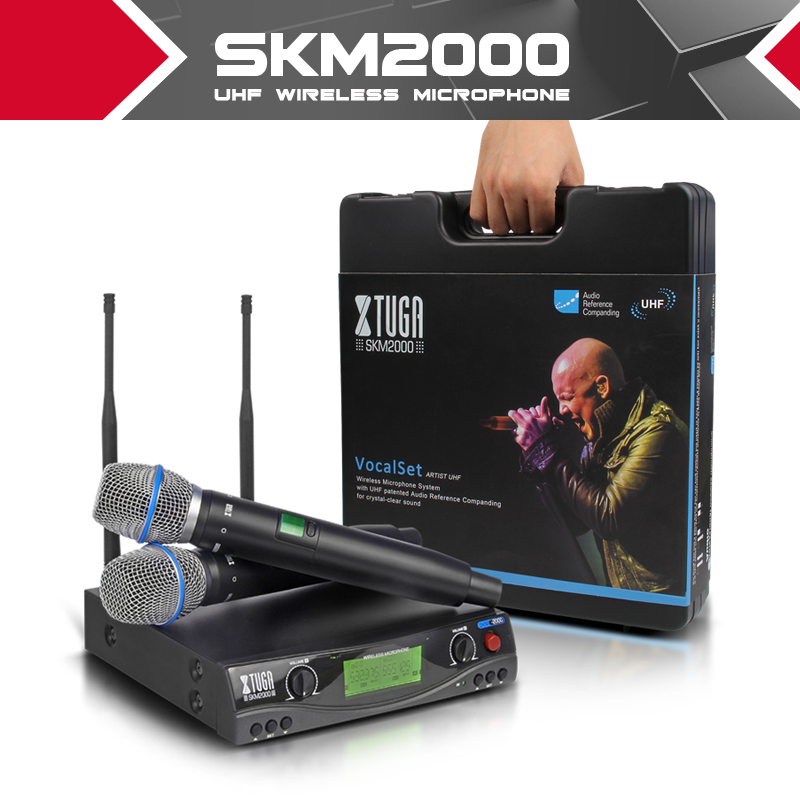 XTUGA audio UHF Wireless Microphones with Screen Distance 2 Channel Headset Mic System Stage Karaoke Bar