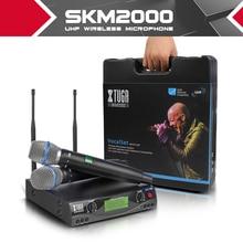 XTUGA audio UHF Wireless Mikrofone mit Bildschirm Abstand 2 Kanal Headset Mic System Bühne Karaoke Bar Partei Kirche