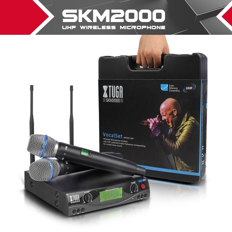 XTUGA audio UHF Microphones Sans Fil avec Écran Distance 2 Canal Casque Mic Système Stade Karaoké Bar Parti Église