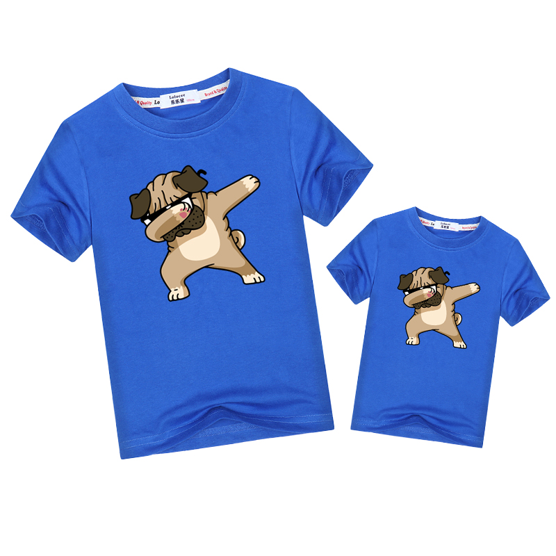 Dab t-shirt family matching tops funny Pug t-shirt father mother kid match outfits Dad mom baby tee Dabbing short sleeve shirt