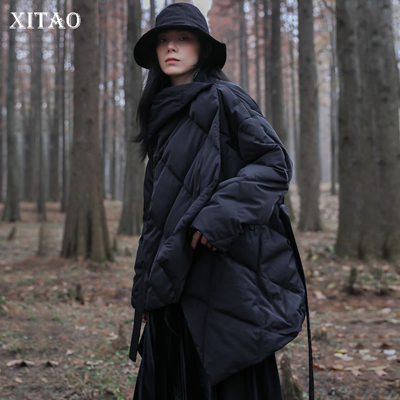 [XITAO] White Duck   Down   Fashion New Women Winter Spring Covered Button Solid Color Long Casual Bandage Pocket   Down     Coat   WBB1417