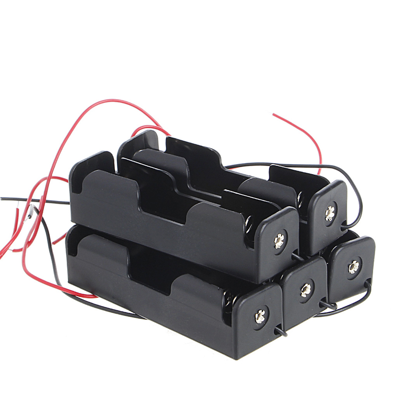 1 Set(5 Pcs )<font><b>3x18650</b></font> Rechargeable Battery 3.7V Clip Holder Box Case With Wire Lead image