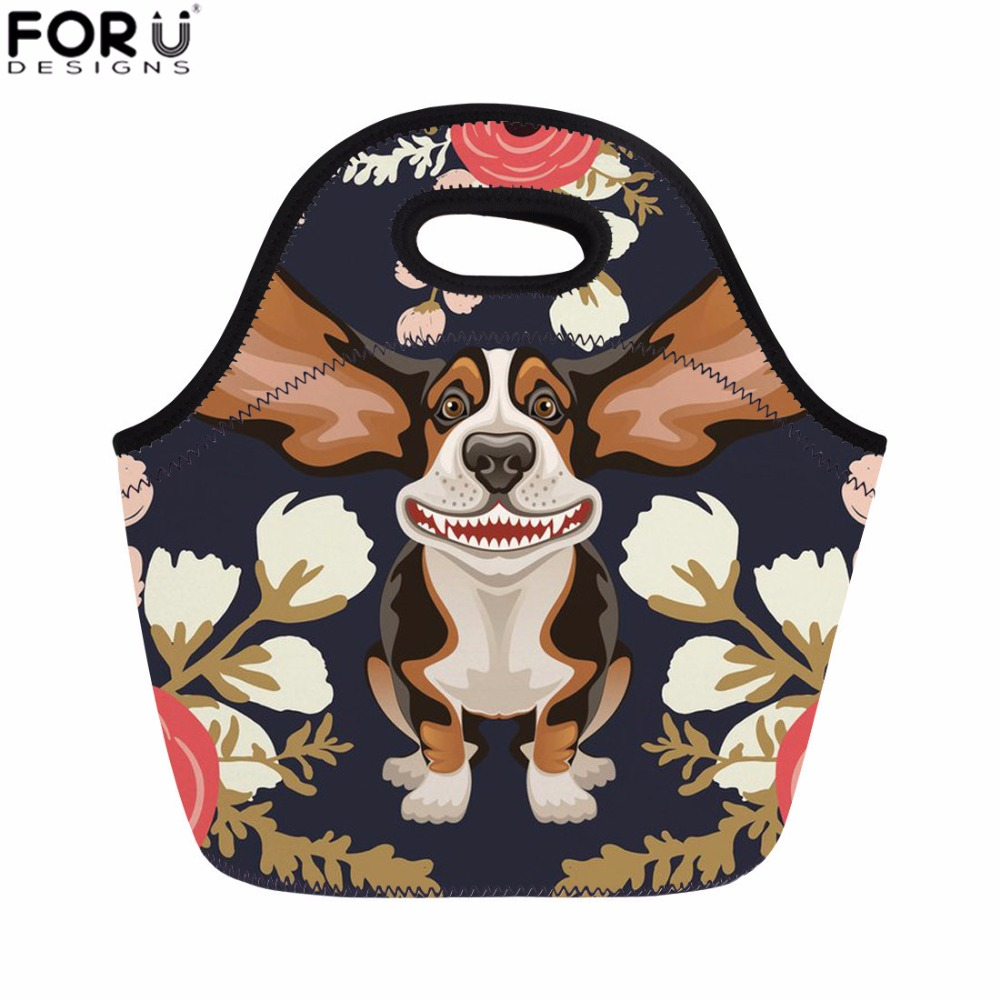 FORUDESIGNS Lunch Bag for Women Floral Hound Print Student Insulated Lunch Bag Kids Girls Meal Sacola Picnic Bag Food Cooler Bag