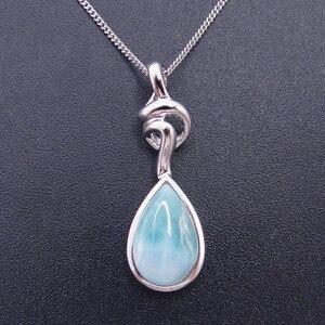Image 2 - Pendentif Larimar en argent Sterling nouveauté, perles naturelles, 9x13mm, bijou fin pour femme, 925 goutte de larme, pour cadeau, breloque collier