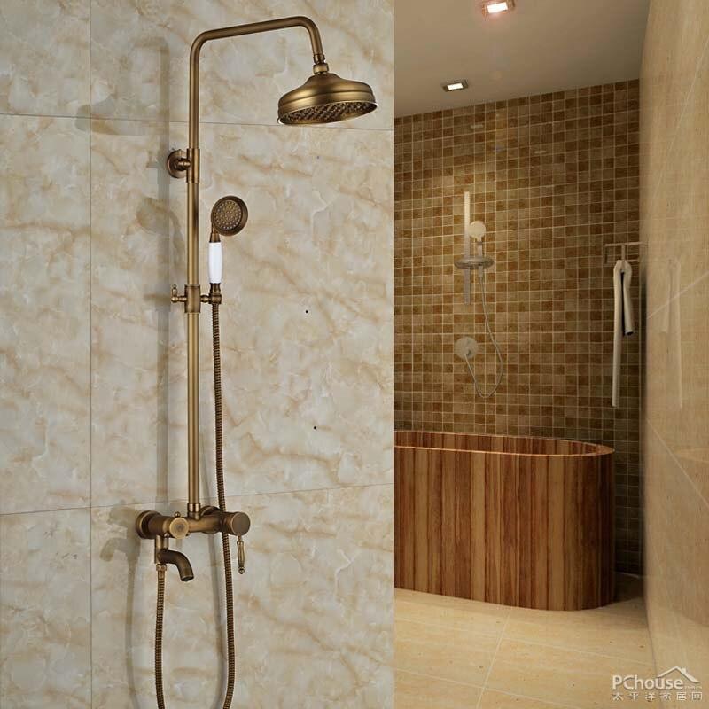 Modern Wall Mount Artistic Brass Shower Faucets Set Single Handle ...