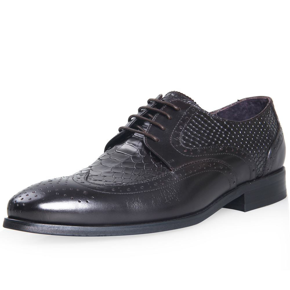 ELANROMAN men luxury leather shoes Men Snakeskin Brogue Shoes Formal Men Wedding Oxford Business Dress Shoes brown flats blaibilton formal dress men shoes oxford 100