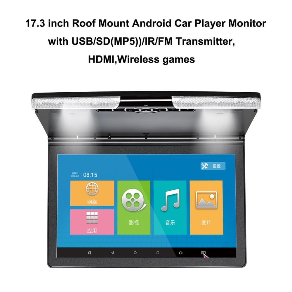 17,3 дюймовый потолочный Android автомобиля HD плеер с USB/SD (MP5)/IR/FM передатчик, HDMI, Беспроводной игры