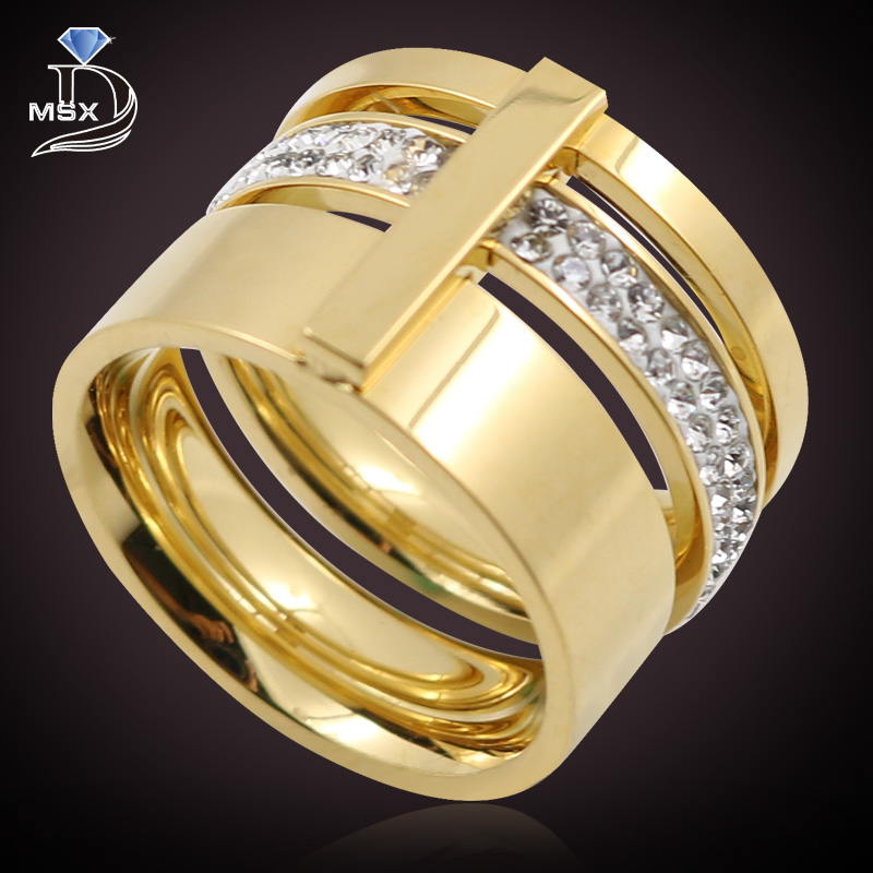 gold color zircon crystal titanium stainless steel rings for women men wedding jewelry three layers beauty anillos female - Beautiful Wedding Rings