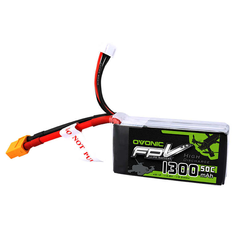OVONIC 1300mAh 50C Max 100C Lipo 4S 14.8V Battery with XT60 Plug for 240 FPV Frame RC Drone Heli Quad Boat Car
