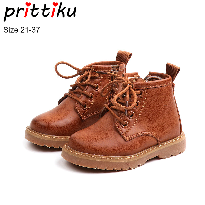 Autumn 2018 Boys Girls Ankle Genuine Leather Martin Boots Baby/Toddler/Little/Big Kid Fashion Booties Children Warm Brand Shoes