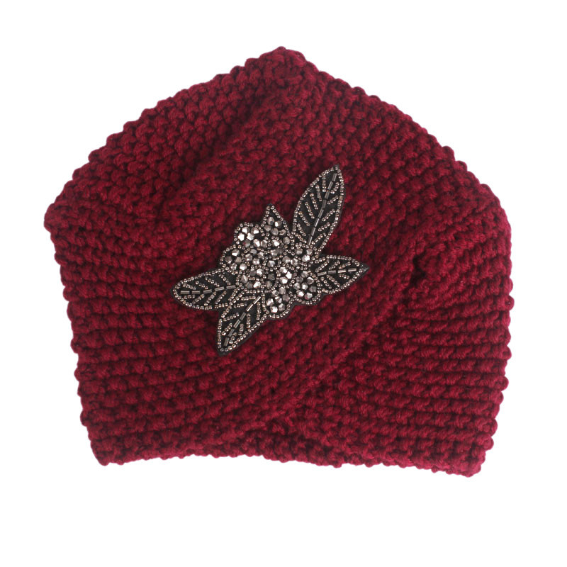 Image 5 - Muslim Winter Turban Hat Warm Print Rhinestone Knit Cap Beanie  Sleep Chemo Turban Headwear Cancer Patients Hair AccessoriesWomens  Hair Accessories