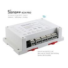 Sonoff 4CH Pro 4 Gang montaje en carril DIN control inalámbrico WiFi smart switch Home Light Alexa temporizador remoto 10A/ 2200 W itead
