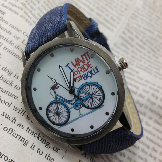 Vintage men's watch Denim Bicycles Men And Women Students Couple Table Bike Lett